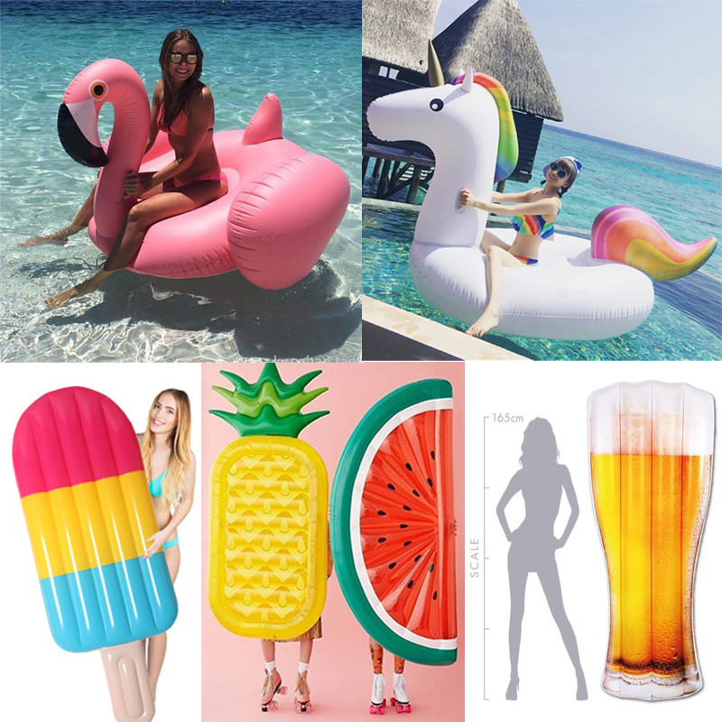 22 Style Giant Swan Watermelon Floats Pineapple Flamingo Swimming Ring Unicorn Inflatable Pool Float For Child