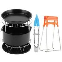 8 Inch 7 In 1 Air Fryer Accessories Set Kit Parts Metal Holder Skewer Rack Cake Barrel For Baking Basket Pizza Pan Cake Molds