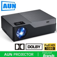 AUN Full HD Projector, 1920x1080 Resolution. 300 inch Larger Screen Theater, Support AC3. 5500 Lumens. (Optional Android WIFI)
