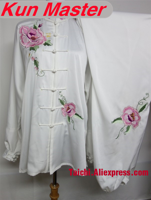 Custom Tai Chi Performance Uniform Embroidery  Martial Art Clothing For Kung Fu According Height And Weight Pink White