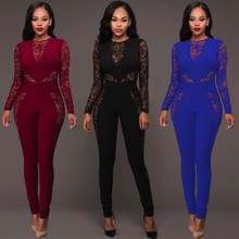 Women Sexy Long Sleeve Bodycon Jumpsuit Solid Lace Patchwork Romper Trousers Evening Club Playsuit Overalls
