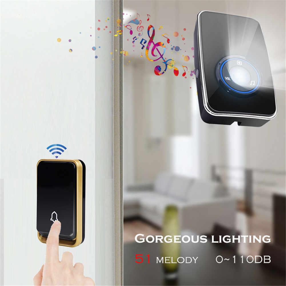 YIFAN Wireless DoorBell UK EU US plug self powered LED night light sensor  Waterproof no battery home Door Bell chime ring call