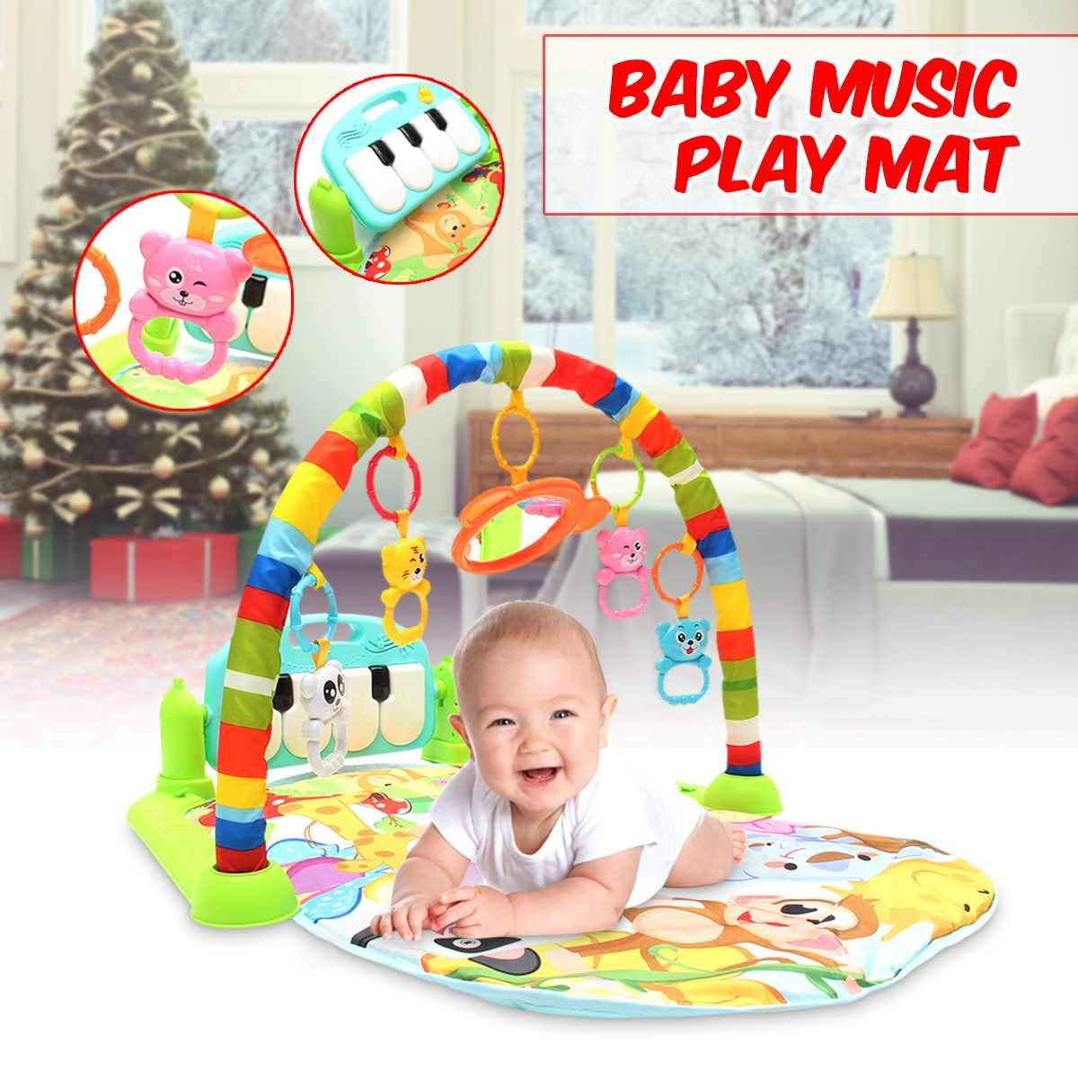 Baby Soft Playmat Foam Kids Piano Musical Sleep Lullaby Activity Fitness Gym Mat Baby Sleeping Safety Blanket Educational Toys