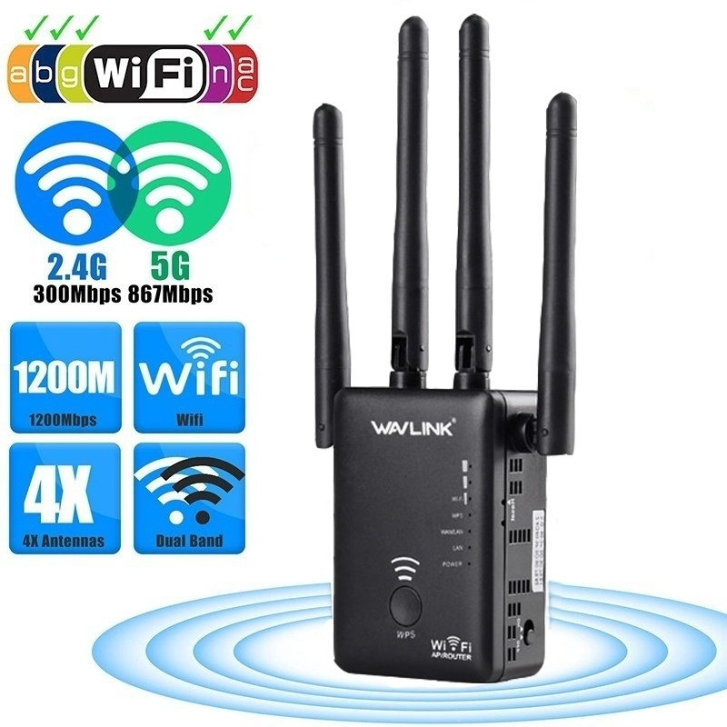 LEORY AC1200 Dual for Band 1200Mbps 4x3dBi External Antenna Wireless WIFI RepeaterLEORY AC1200 Dual for Band 1200Mbps 4x3dBi External Antenna Wireless WIFI Repeater
