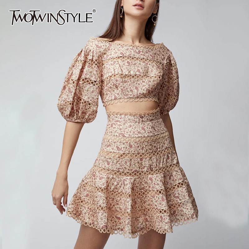 TWOTWINSTYLE Print Two Piece Set Embroidery Patchwork Hollow Out WomenTops Puff Sleeve Short Mini Skirt Female