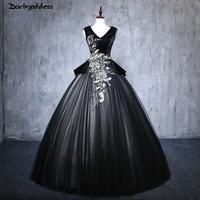 2018 Cheap Black Quinceanera Dresses Ball Gown Puffy Sweet 16 Dress Lace Formal Party Dress Plus Size vestido de festa 15 anos