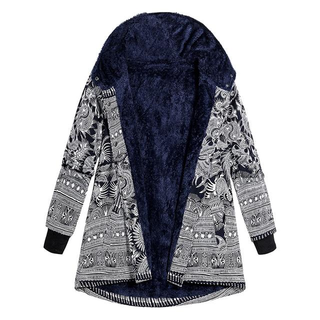 New Price 2019 Autumn Winter jacket Women Faux Fur Printed Hooded Coat Side Pocket Warm Parka Coat Vintage Outerwear Plus Size 3XL 4XL 5XL