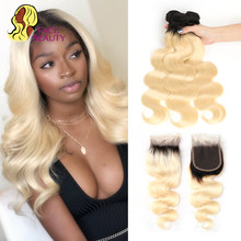 613 Honey Blond Ombre Unprocess Brazilian Virgin Human Remy 3 Body Wave,Bundle,Hair,Weft,Weave,Deal,Closur and with Lace Closure(China)