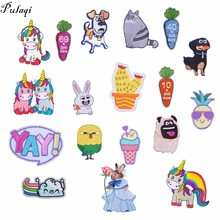 Pulaqi Cartoon Animals Sticker Heat Transfers Sew On Iron-on Pokemon For Jeans T - Shirt Garment Accessories Unicorn Patch H