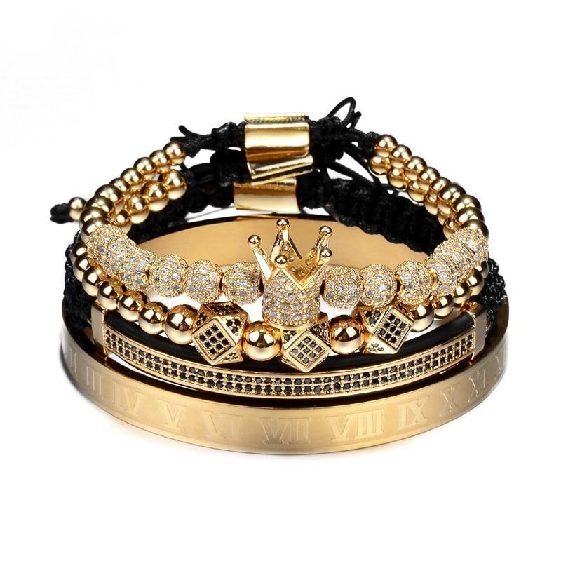 Numeral Bracelet Zircon Crown Luxury Jewelry Handmade Roman Men Braiding Pave CZ Classical