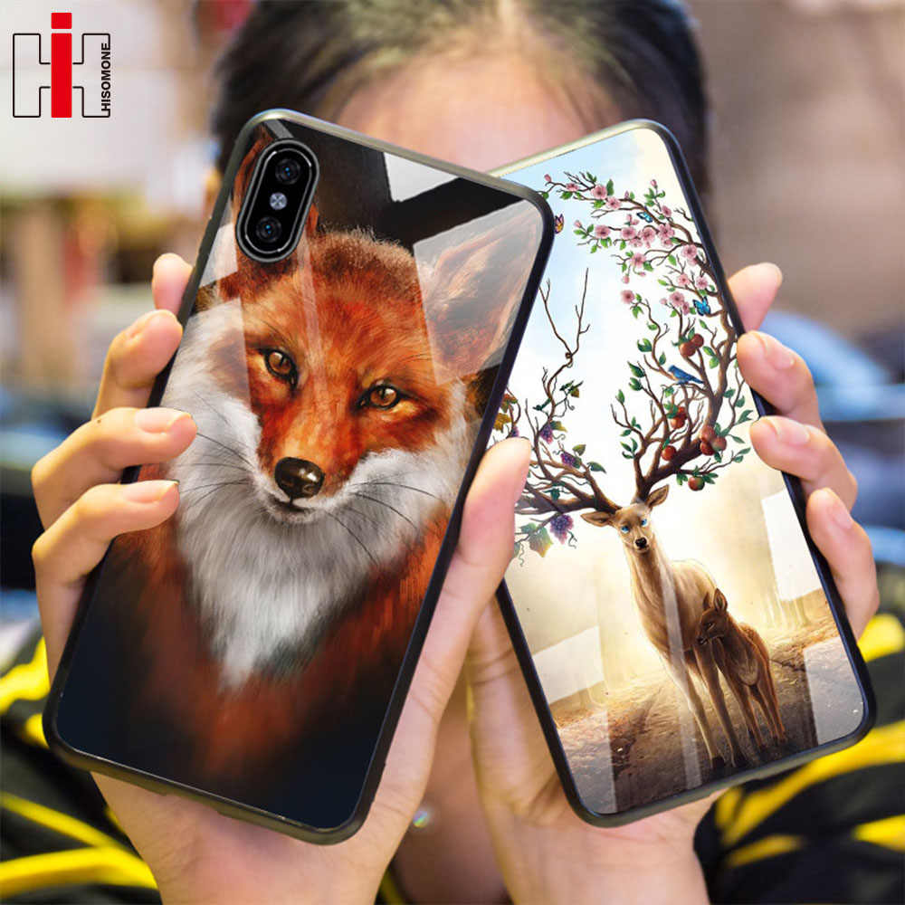 Hisomone Luxury Animal Tempered Glass Case For iPhone 6 6 S Plus Silicon Phone Case For iPhone X 7 8 Plus Xs Max Xr Cover