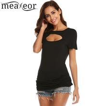 meaneor Sleeve Slim Fit Casual Round Neck Short Women Keyhole T-Shirt Top tulip sleeve scallop trim keyhole top