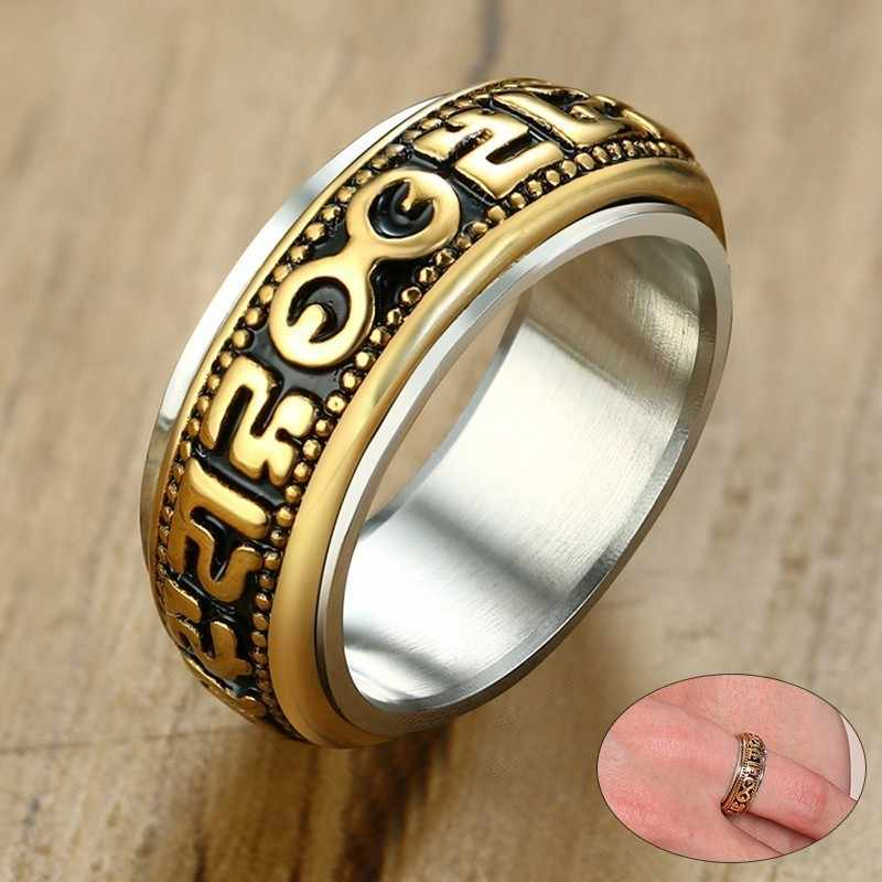 Vnox мужские вращающееся кольцо с Винтаж четки слова 8 мм Нержавеющаясталь мужской Анель masculino Религиозные ювелирные изделия