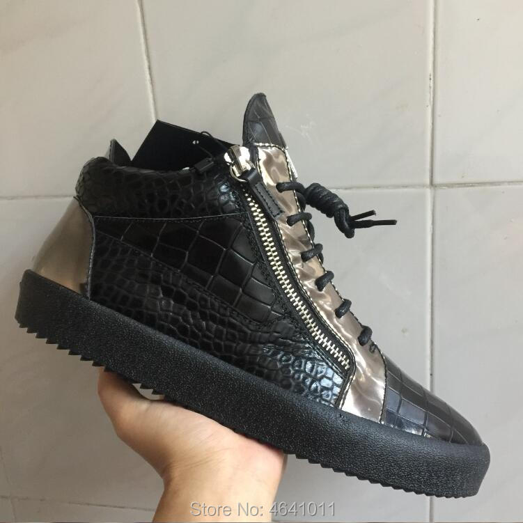 Newest High-top Leisure shoe Stone texture cland gz Shoes Lace-Up Black  calfskin beb301805b12