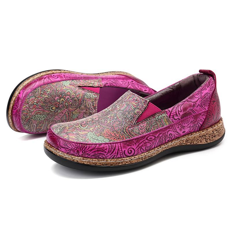 SOCOFY การพิมพ์รูปแบบ Slip บนรองเท้าหนังแท้ Loafers Retro Splicing หนังแบนรองเท้า intage ดอกไม้ผู้หญิงแบน-ใน รองเท้าส้นเตี้ยสตรี จาก รองเท้า บน   2