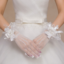 beautiful girl gloves red and white gauze flowers short style ceremonial performance finger