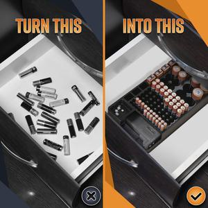 Image 2 - Ffyy電池収納オーガナイザーホルダーテスター電池キャディーラックケースボックスホルダー含むバッテリーチェッカーaaa aa c