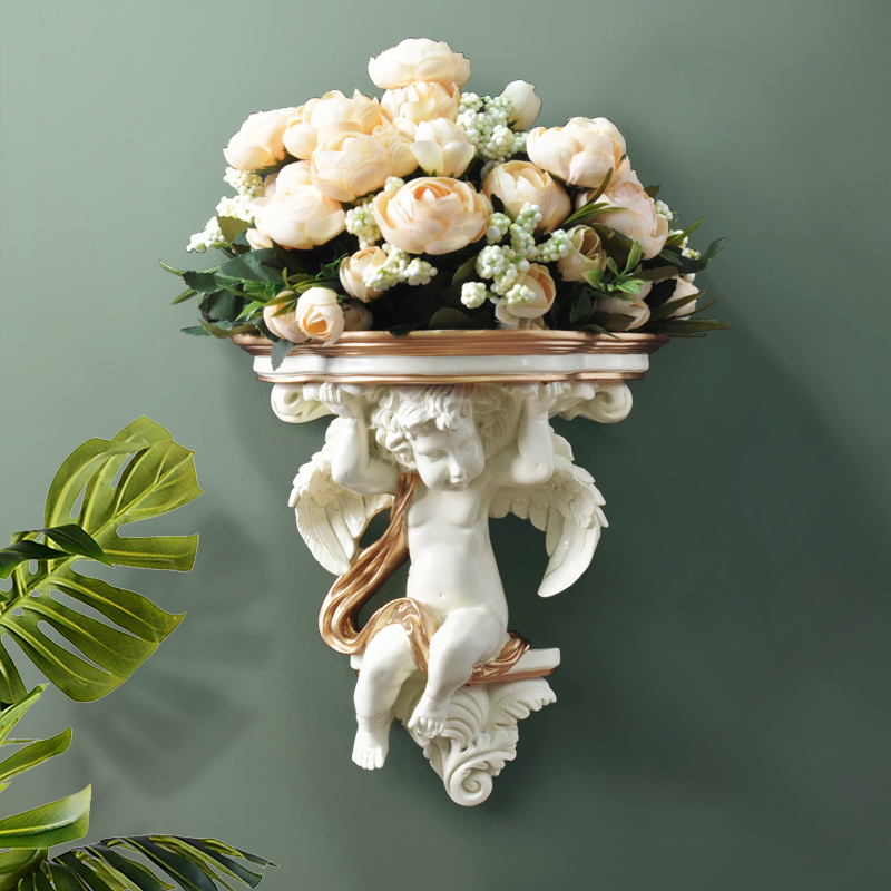 Home Wall Decorative Artificial Flowers Shelf Pendart Art Hanging Resin Mural Craft Wedding Living Room Oornaments Wall Vase