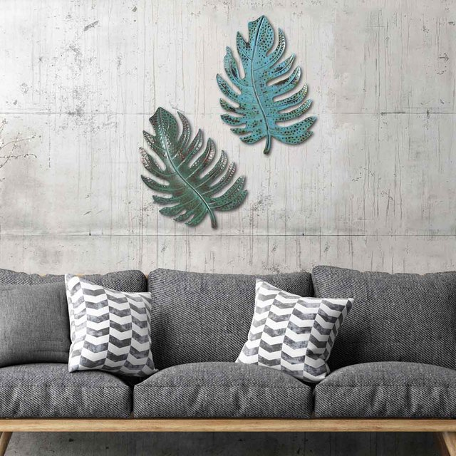 industrial decor Blue Leaf Wall Art Iron Leaf Wall Decor Art Decoration for Home Wall Hanging Ornament nordic decoration home