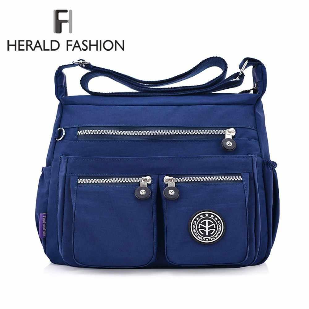 386ff3573 Herald de moda impermeable Nylon, bolsas de mensajero para mujeres, calidad  pequeña mujer bolso