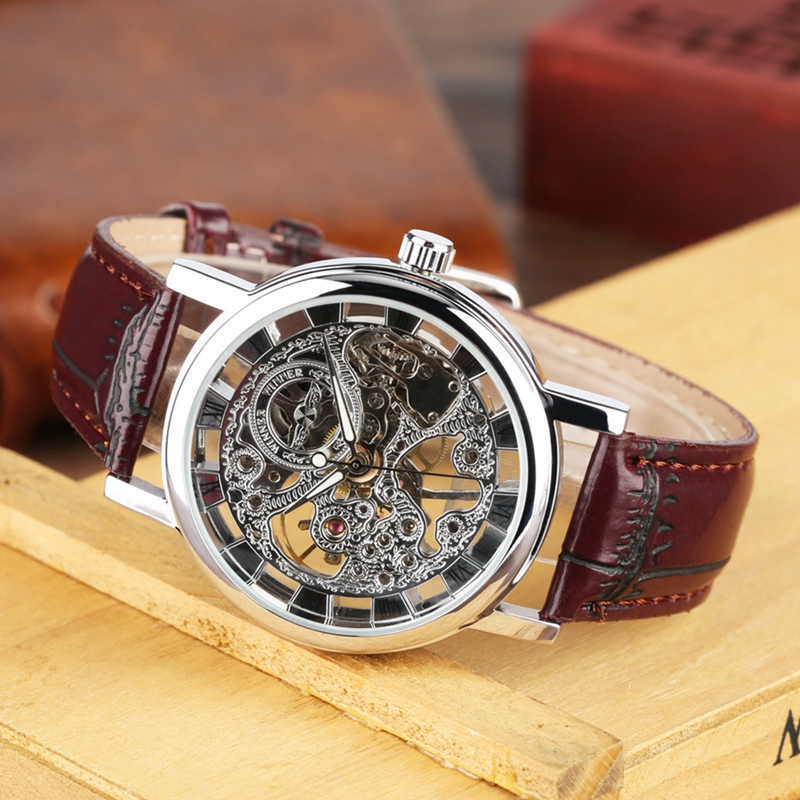 WINNER Men 39 s Watch Top Brand Luxury Mechanical Watch Men Transparent Skeleton Leather Sports Clock Male Wristwatch saat erkekler in Mechanical Watches from Watches