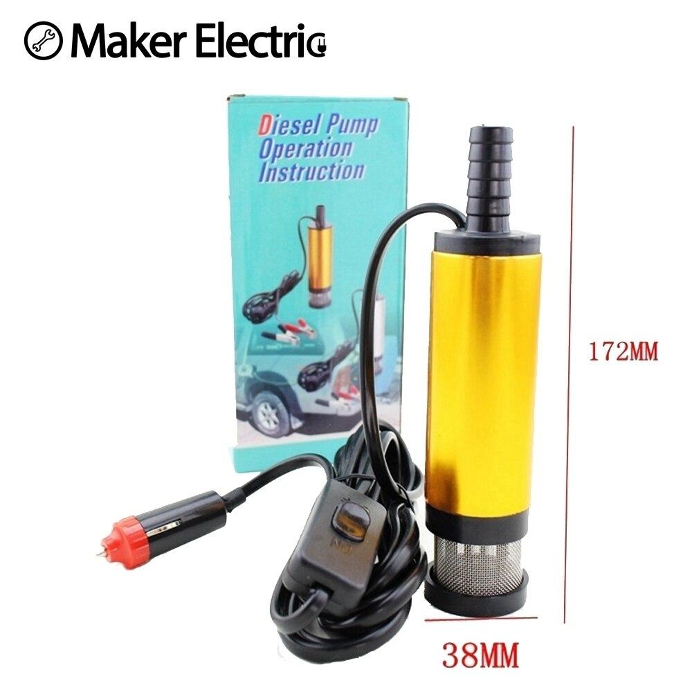 Mini 12/24V Diameter 38MM Water Oil Camping Diesel Transfer Oil Pump Aluminium Alloy Belt Filter Net With Automobile Adapter
