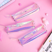Laser Glitter Pencil Case Cute Pink Transparent PVC Pencilcase Kawaii School Pencil Bag For Handbag Stationery Girls Gift(China)