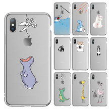 Ottwn For iPhone 11 Pro Max 6 6s 7 8 Plus 5 5s SE Phone Case Cartoon Animal Soft TPU For iPhone X XR XS Max Transparent Cover kisscase transparent phone case for iphone xr x xs max 7 8 6 6s plus soft silicone case for iphone 11 pro max 5 5s se back cover