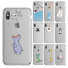 Ottwn For iPhone 6 6s 7 8 Plus 5 5s SE Phone Case Cartoon Animals Soft TPU For iPhone X XR XS Max Cases Transparent Back Cover(China)