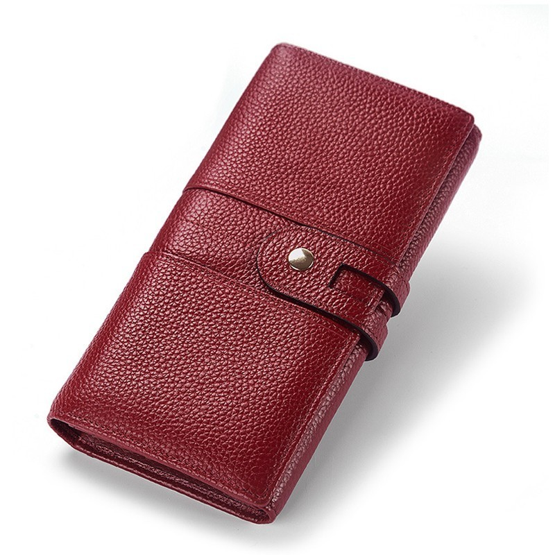 New Women Wallet Genuine Leather Wallets Woman Long Clutch Bags Coin Purse Large Capacity Money Bag Card Holder Cartera Mujer