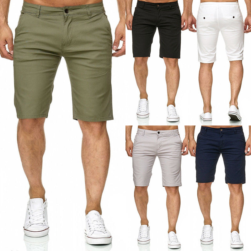 Cool Men Slim Fit Solid Cotton Blend Soft Work Uniform Knee Length Casual Shorts Summer Army Green White Black Beige Shorts