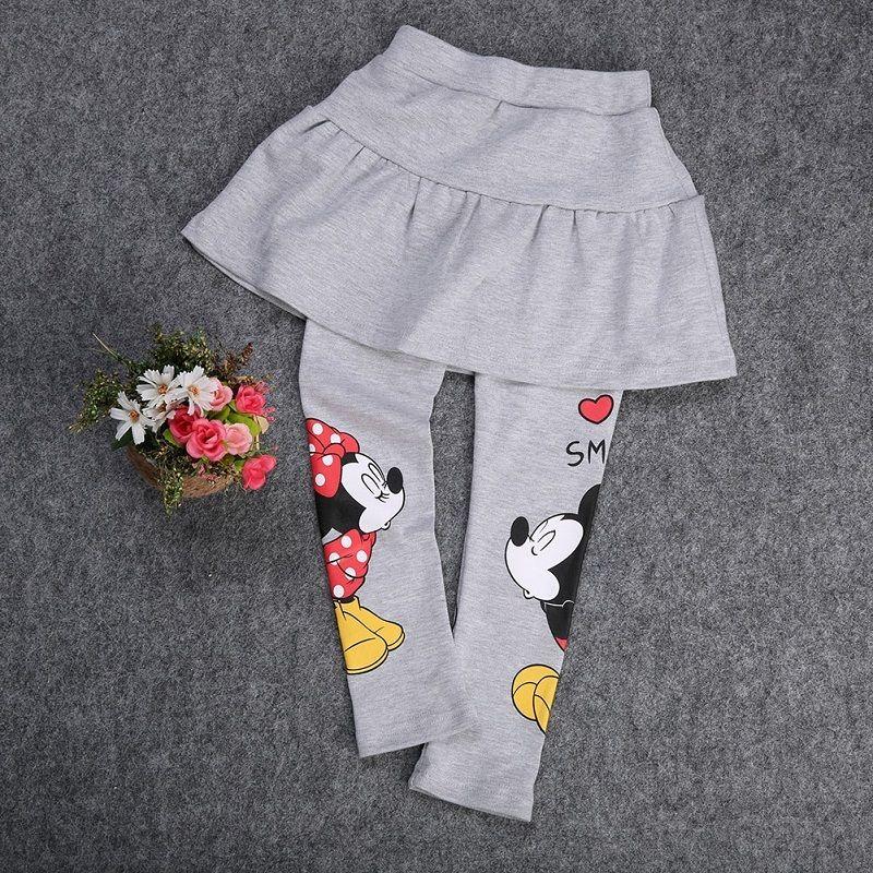 Pudcoco Girl Pants Spring Fall Girl Kids Clothes Stretch Skirt Pants Cartoon Mickey Minnie Leggings