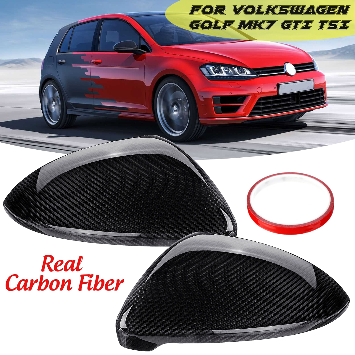 Pair Real Carbon Fiber Car Side Rearview Mirror Cover Caps Black for VW for Volkswagen Golf MK7 GTI TSI 2014 15-2017 Car Styling for volkswagen vw golf7 mk7 carbon fiber rear side view caps mirror cover car replacement