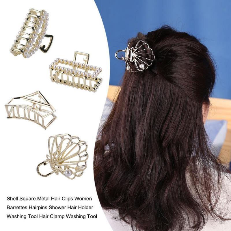 Women Headwear Shell Square Metal Hair Clips Women Barrettes Hairpins Shower Hair Holder Luxurious Hair Clips For Party