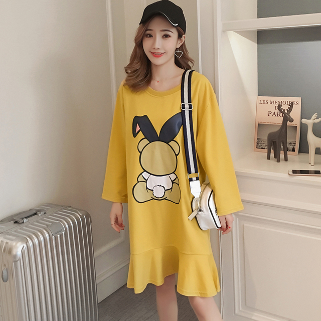 #4962 Spring Yellow T Shirt Dress Women Cotton Plus Size Round Neck Cartoon Print Ruffle Hem Mermaid Dress Female Knee-Length