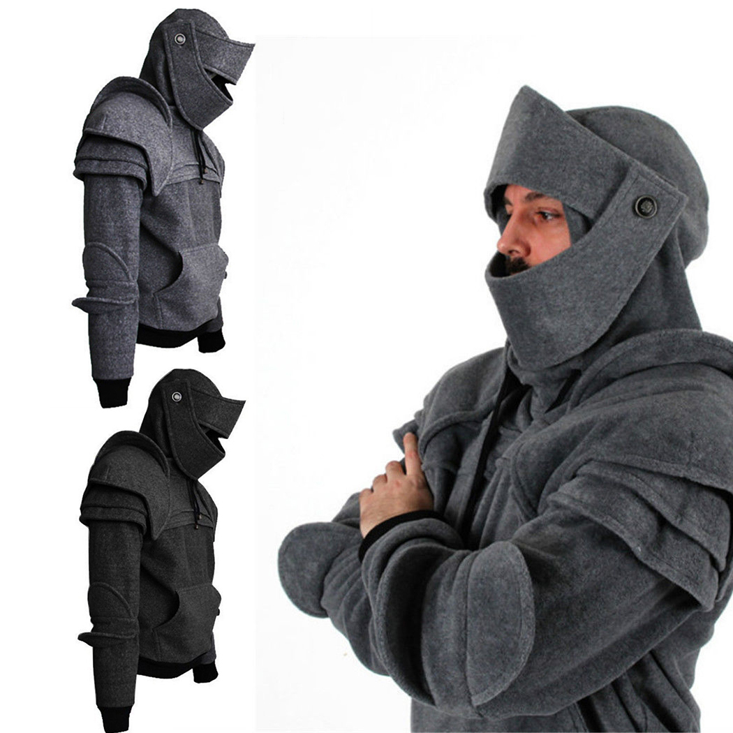 Vintage Medieval Knight Men Hoodies Warrior Soldier Hooded Sweatshirt Male Mask Armor Pullover Cosplay Costume Plus Size Tops