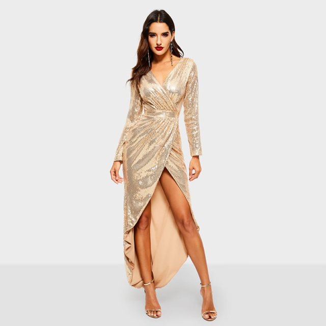 0512d40b Golden Reflective Sequins Dress Women Party Sexy Bodycon High Waist Spring  2019 Elegant Evening Ladies Deep V Midi Wrap Dresses