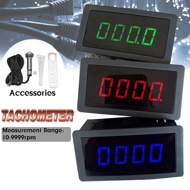 4 LED Digital tacómetro, RPM, medidor de velocidad de rojo verde azul + estampado azul + Hall interruptor con sensor de proximidad para motocicleta Motor marino bicicleta