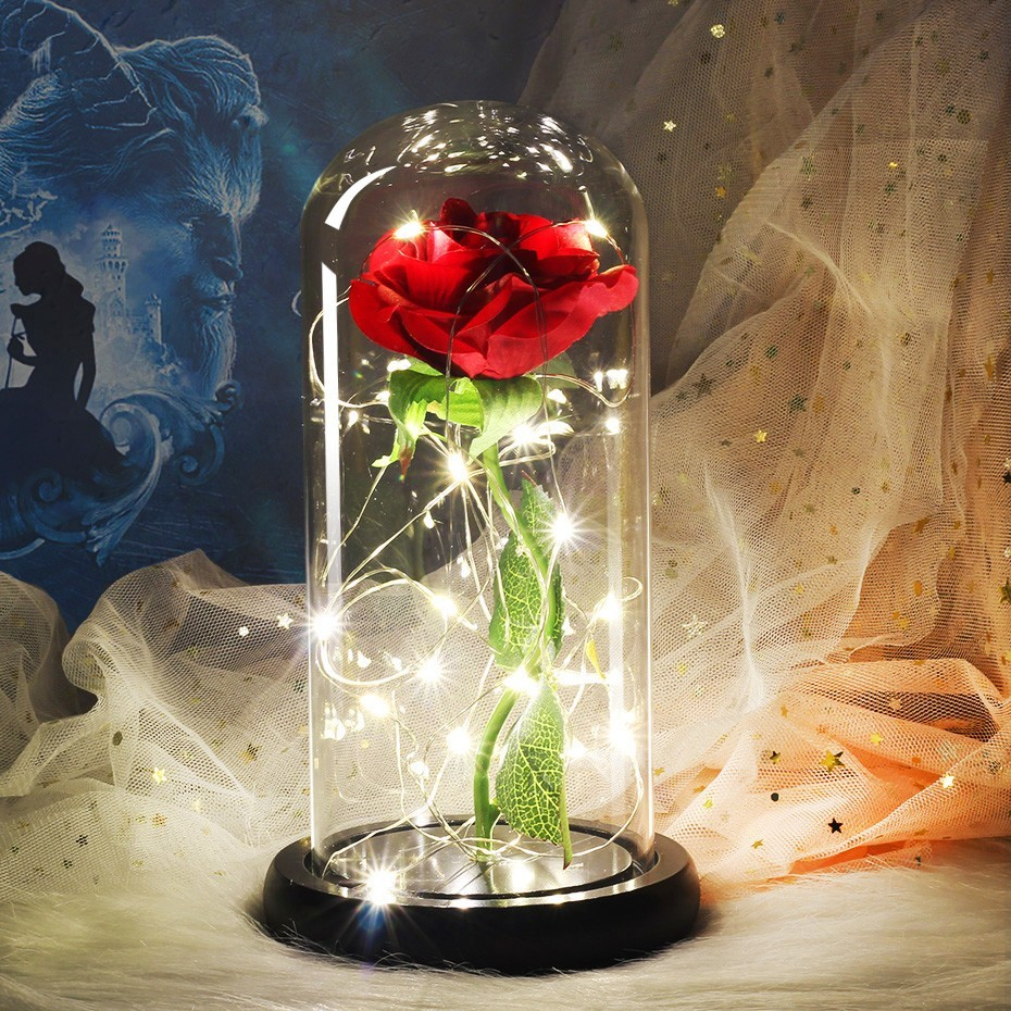 Красавица и Чудовище красная роза в стеклянном куполе на деревянной основе для подарков на день Святого Валентина