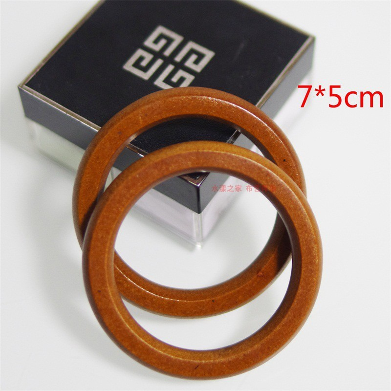 7 Cm Outside Coffee Color O Shape Wooden Bag Handle O Rings Obag Handle Handbag Accessories Purse Hanger Bag Parts Wholesale