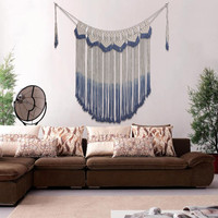 Macrame Wall Art Handmade Cotton Wall Hanging Tapestry Pendant with Lace Fabrics Bohemian Hanging Home Living Room Decoration