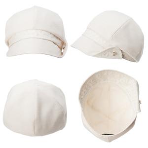 Image 4 - FANCET Bayan İlkbahar Yaz Bere Şapka Düz Pamuk Yumuşak Ayarlanabilir Jakarlı Bel Şeritler Zarif Moda Gazeteci Kapaklar 89027