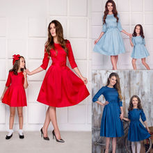2019 New Family Dress Women Mother Daughter Matching Spring Summer Girl Formal Dress Party Clothes Outfits
