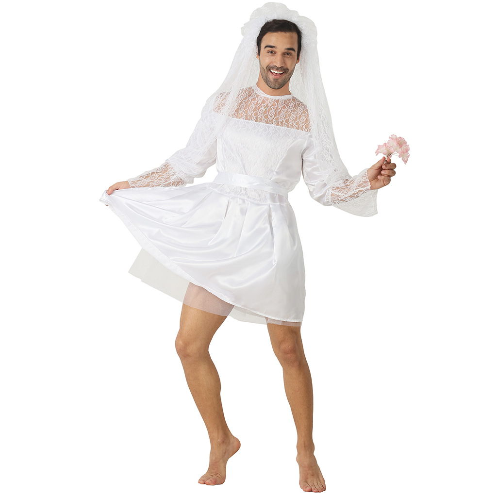 New Arrival Adult Funny Bride Man Lace Wedding Dress Party Amusing Halloween Cosplay Costume on AliExpress