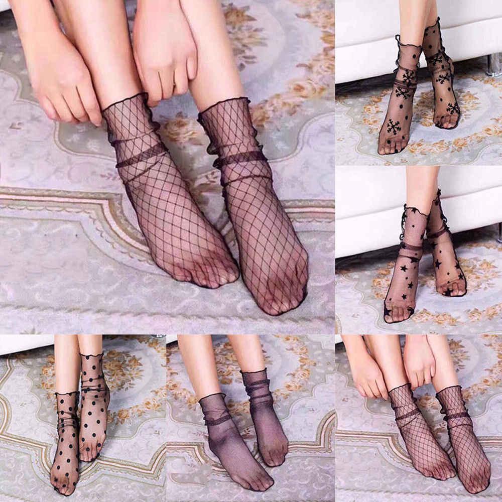 Moda Kadınlar Şeffaf Çorap Ince Fishnet Bayanlar Ultra Ince tam örgü Ayak Bileği Çorap Glitter Yıldız Naylon Fishnet Yaz Çorap