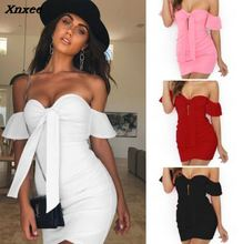 Xnxee Off Shoulder Strapless Sexy Ruched Summer Dress Women Bow Knot Backless Mini Short Sleeve Bodycon Bandage Dresses