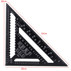Image 4 - 12inch Speed Square Metric Aluminum Alloy Triangle Ruler Squares for Measuring Tool Metric Angle Protractor Woodworking Tools