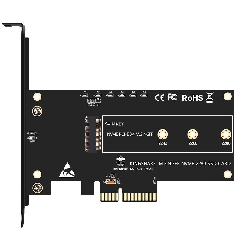 PCI-Express PCI-E 3.0 X4 <font><b>to</b></font> <font><b>M.2</b></font> NGFF M Key Slot Converter <font><b>Adapter</b></font> Card <font><b>M2</b></font> <font><b>Nvme</b></font> <font><b>PCIE</b></font> SSD Riser Card for Desktop Support 2230 22 image