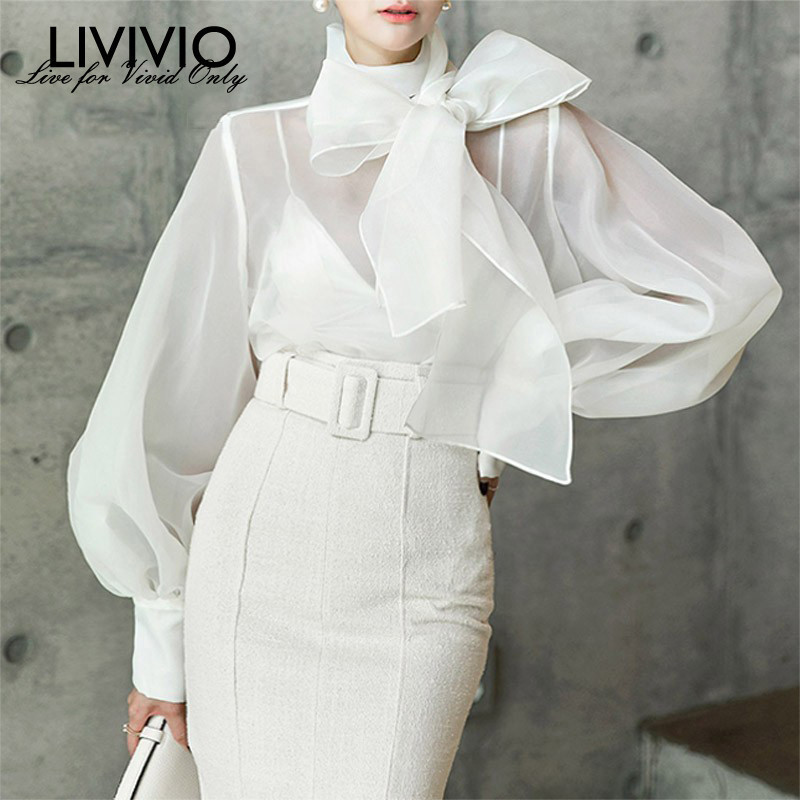 [LIVIVIO] 2019 Summer Long Lantern Sleeve Bow White Sheer Blouse Women Black Shirt Office Ladies Tops Korean Fashion Clothing