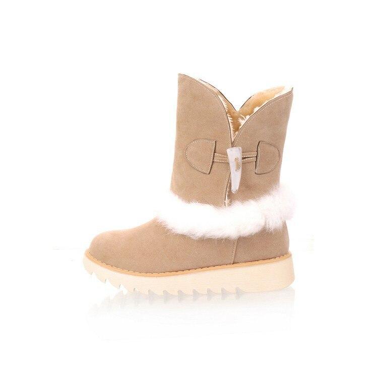 Cheville forme marron noir De Bout Plate Caoutchouc Beige Chaussures Pu Concis Neige Plume Femmes Solide Doux Rond Bottes Avec D'hiver Chaudes Med Plat 8BdB1
